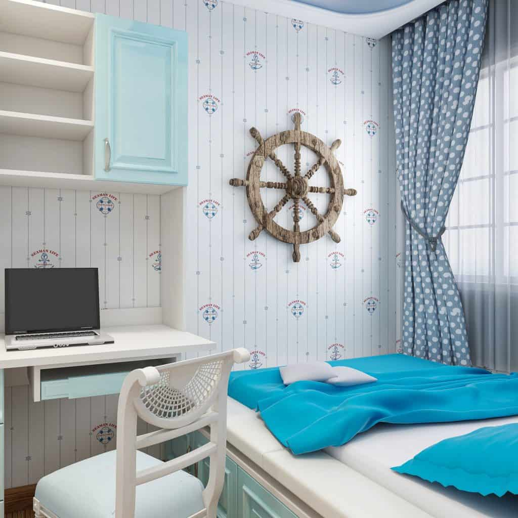 A nautical themed blue bedroom with an antique boat helm
