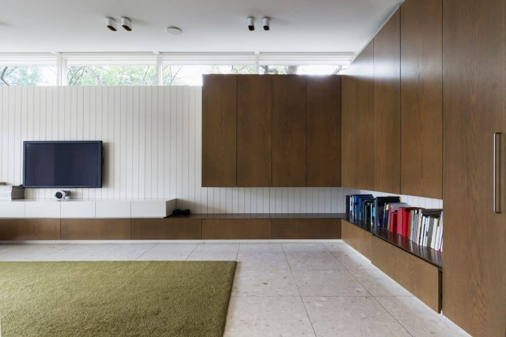 A spacious living room, wooden cabinets, and a brown colored rug