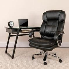 Black leather office chair and table