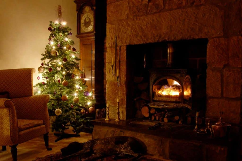 Christmas spirit in the living room of an old Welsh farmhouse