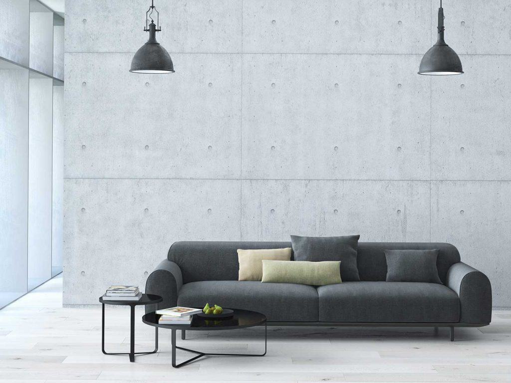 Contemporary living room loft interior with two black hanging pendant lamps