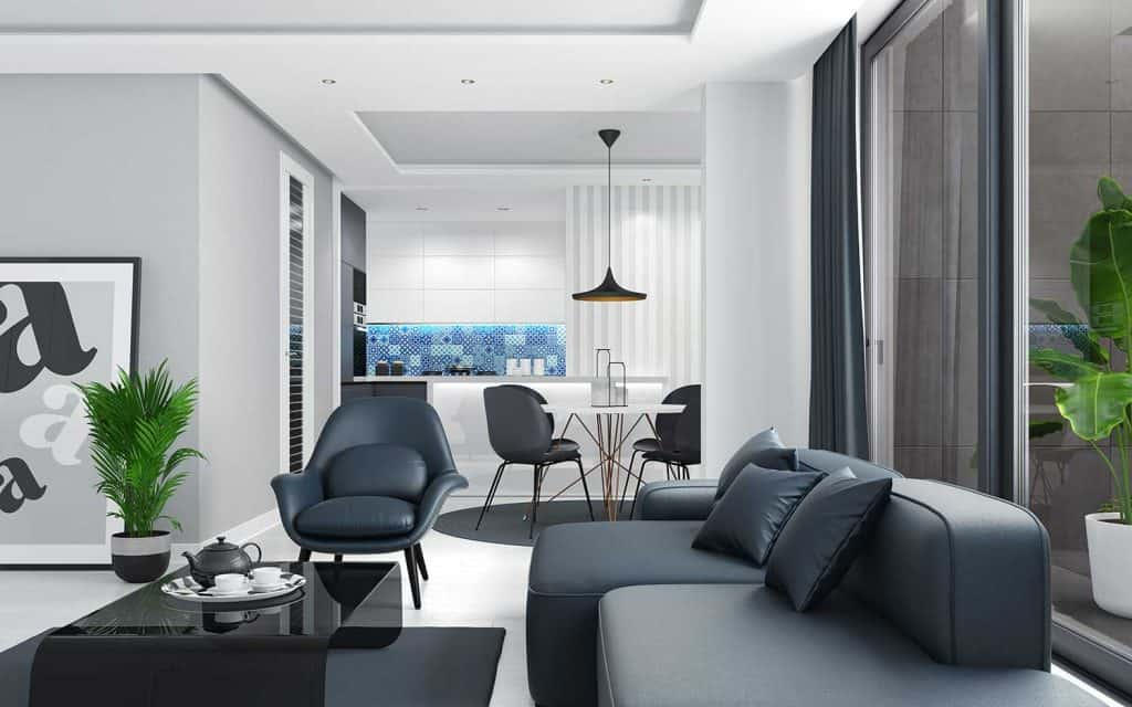 Cozy and bright Scandinavian style modern apartment with black leather sofa