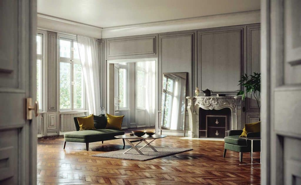 Home interior design with green sofa, accent chair, coffee table, parquet floor and large mirror