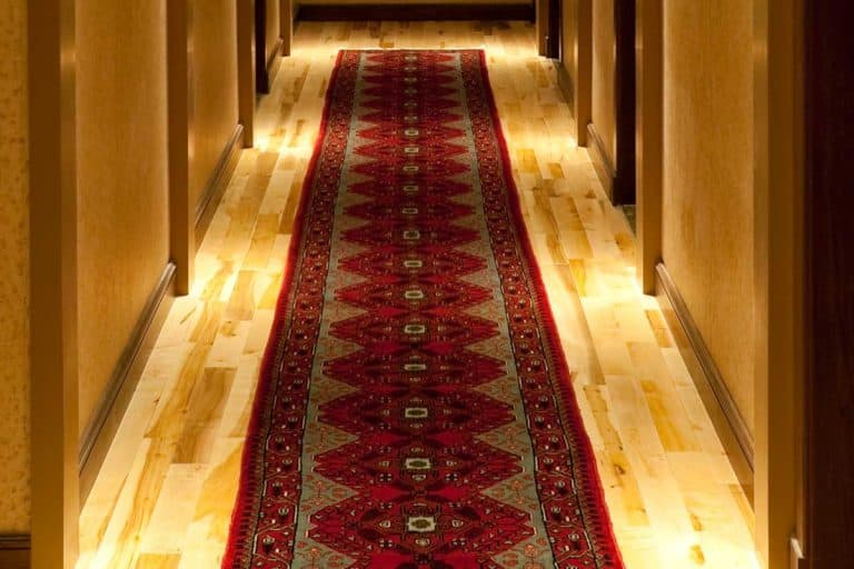 Hotel hallway with red runner rug, What Size Should A Runner Rug Be For A Hallway?