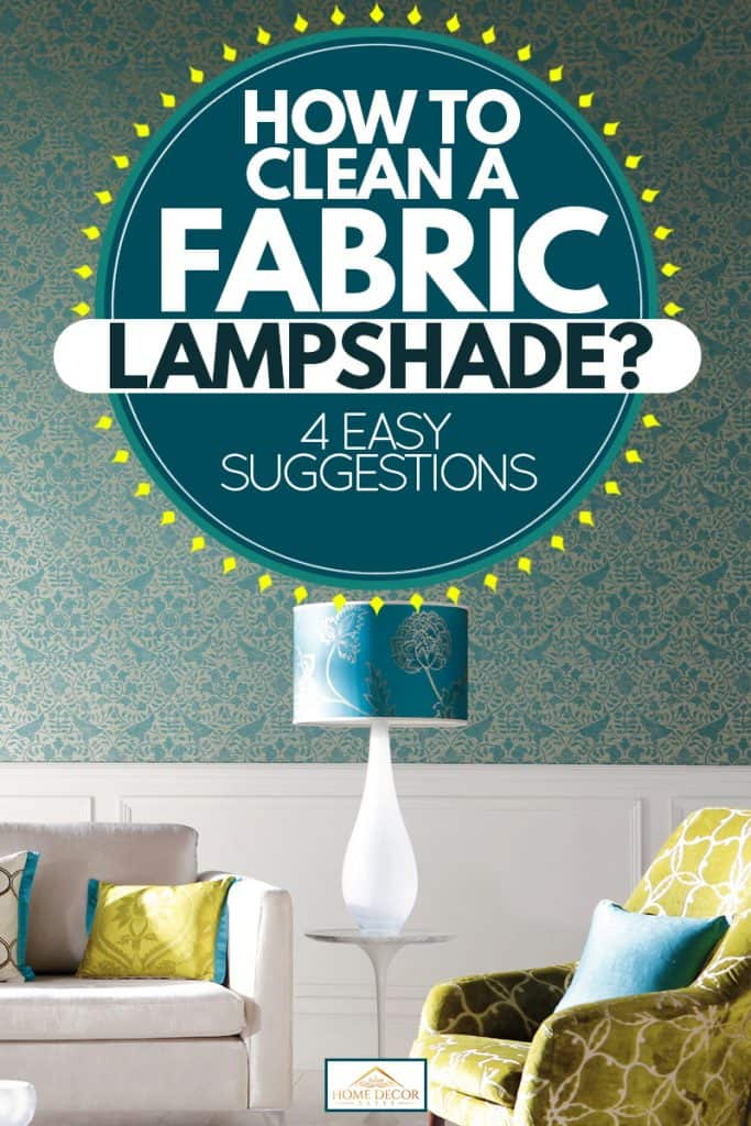 A modern living room with a leather lampshade on the side of a white couch, How To Clean A Fabric Lampshade? [4 EASY Suggestions]