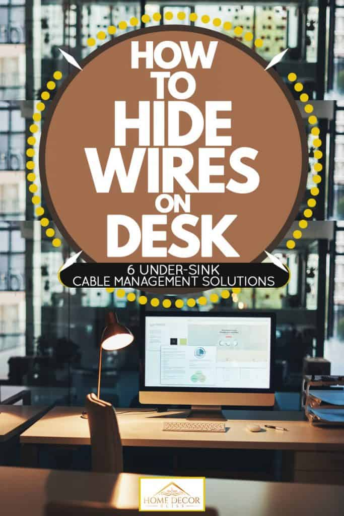 An office desk and a Mac computer on top of the desk, How To Hide Wires On Desk (6 Under-Desk Cable Management Solutions)