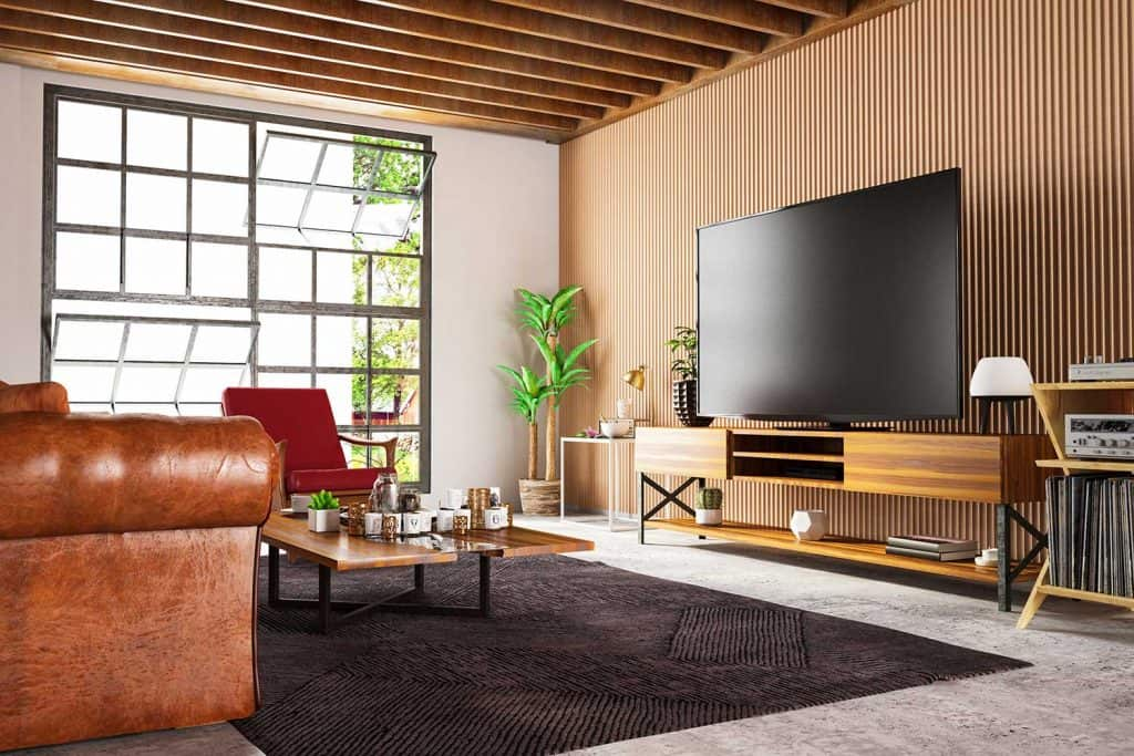 Loft wooden entertainment room with television set