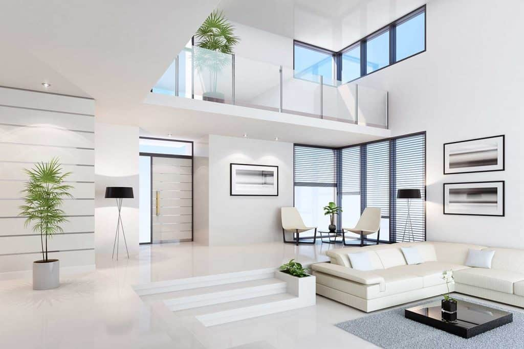 Luxury white penthouse living room interior