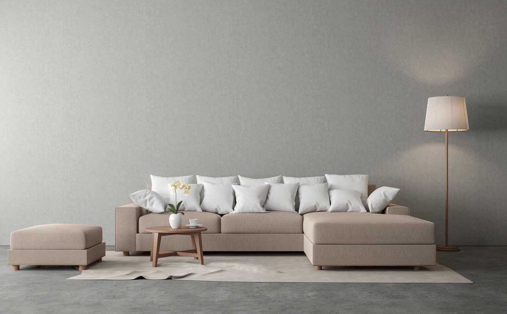 Minimal loft style living room with brown fabric sofa, polished concrete floor and gray plaster wall