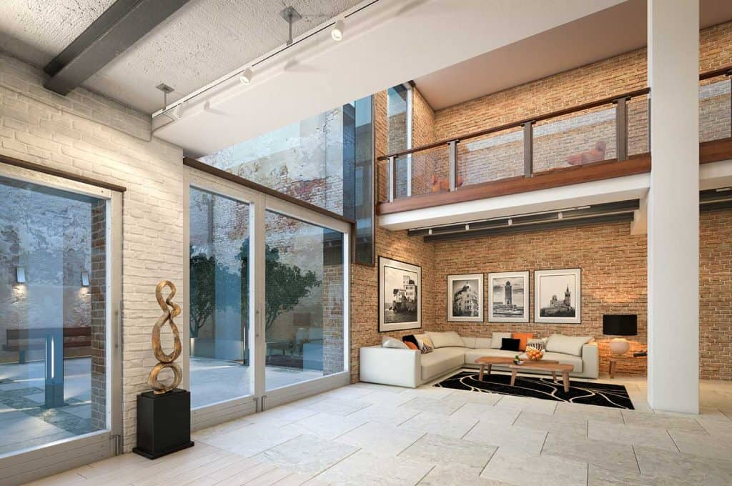 Modern and luxurious loft apartment home interior design with posters on brick wall