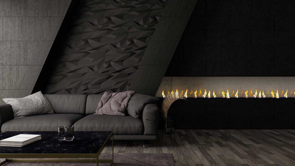 Modern black living room with sofa and fireplace