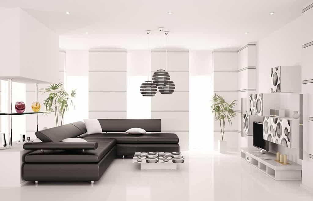 Modern living room interior with black leather corner sofa