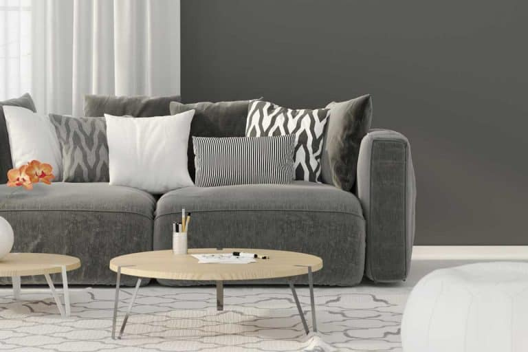Modern living room interior with gray sofa, throw pillows, coffee table, carpet and gray wall, What Color Carpet Goes with Gray Walls? [5 Suggestions with Pictures]