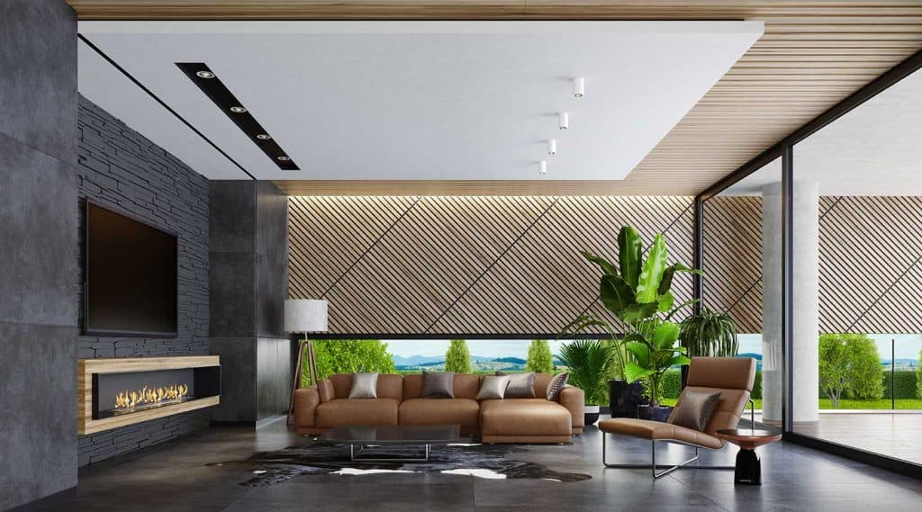 Modern spacious living room with eco fireplace, big flat TV screen and leather furniture