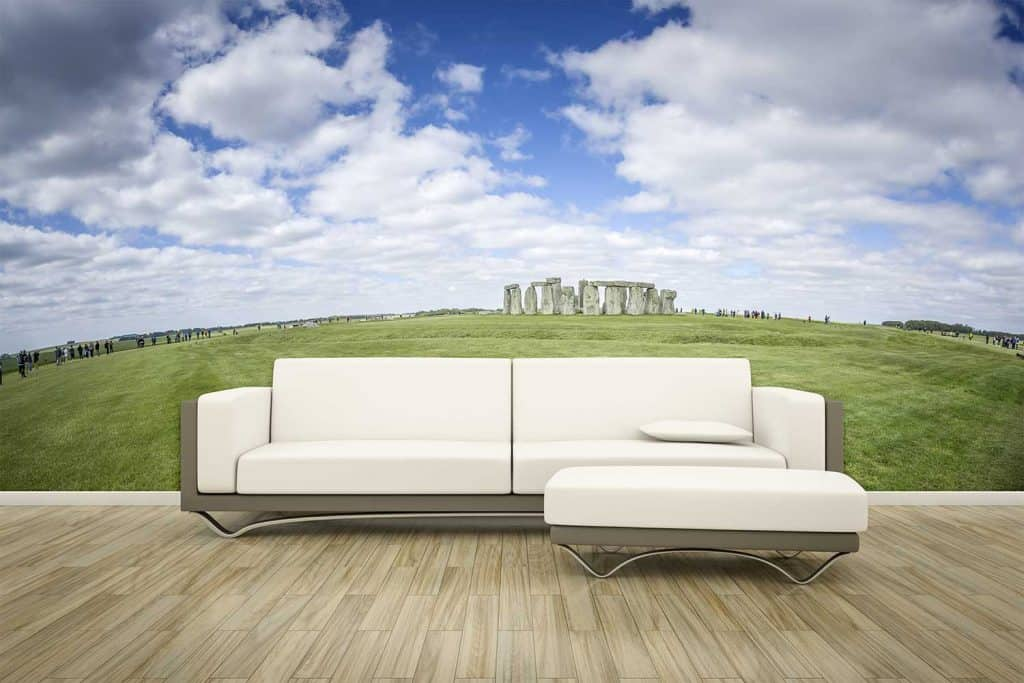 Sofa in front of a photo wall mural stonehenge