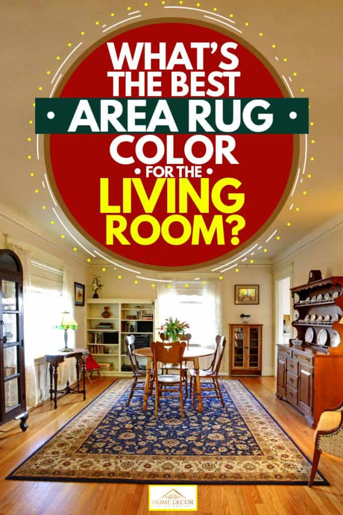 An area rug inside a living room with white living room walls and wooden flooring, What's the Best Area Rug Color For the Living Room?