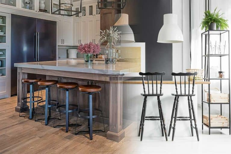 A collage of bar stool and a counter stool in the modern kitchen, What Is The Difference Between Bar Stool And Counter Stool?