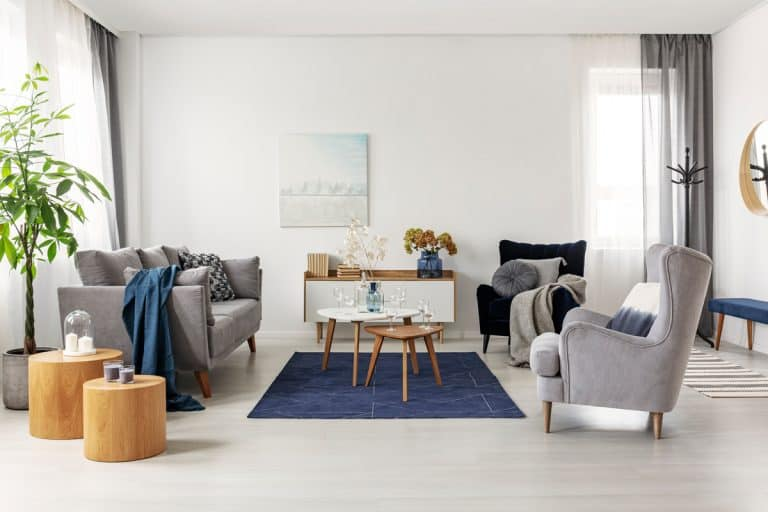 A modern living room mixed with gray chairs and blue blankets and rugs, What Can I Do If My Rug Is Too Big? [Resizing a rug in 3 steps]