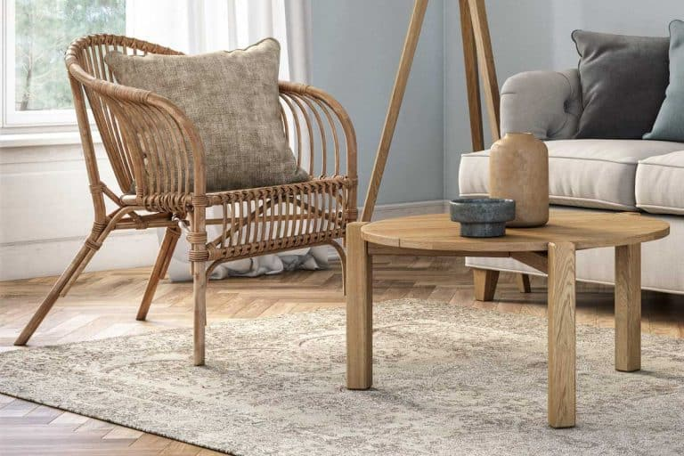 Bohemian living room interior with wicker and wooden furniture, Can You Mix Wicker And Wood Furniture? [Here's how to]