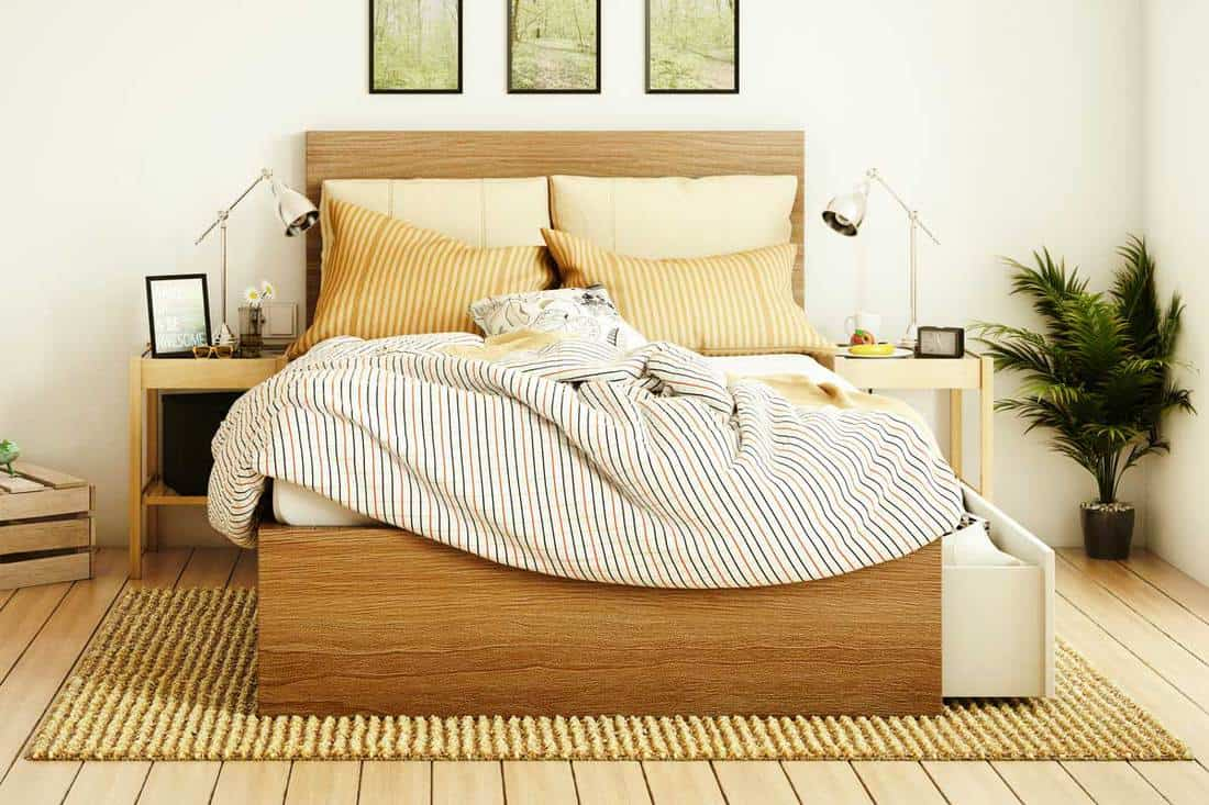 Picture of: How To Place A Rug Under A Queen Bed And What Size Should It Be Home Decor Bliss