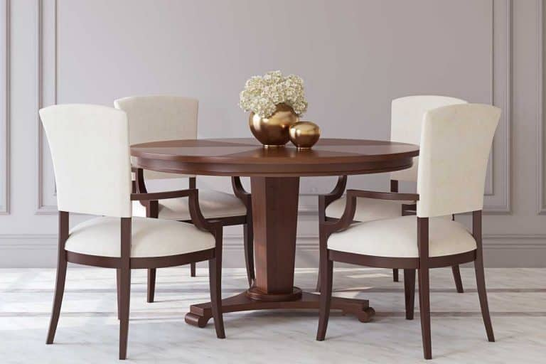 Dining room table and chairs in neoclassical style, What Type Of Fabric Is Best For Dining Room Chairs?