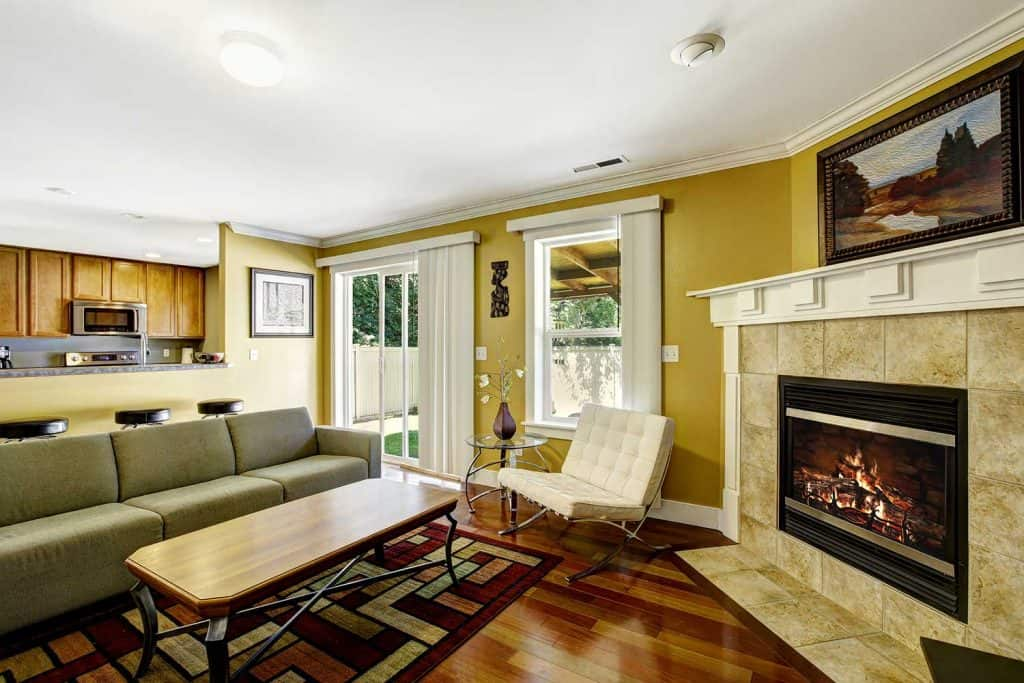 Home interior with mustard walls and green couch