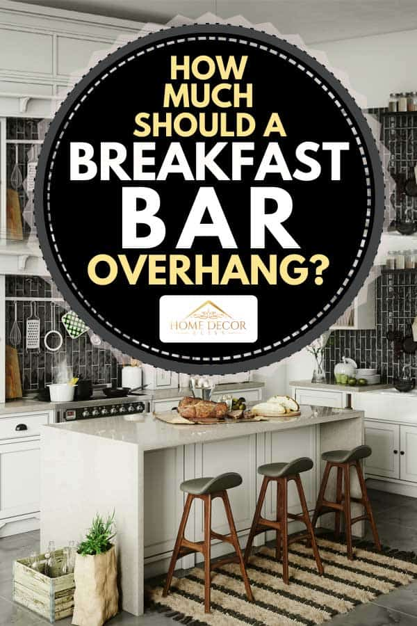 Luxury kitchen interior with breakfast bar and rustic elements, How Much Should A Breakfast Bar Overhang?