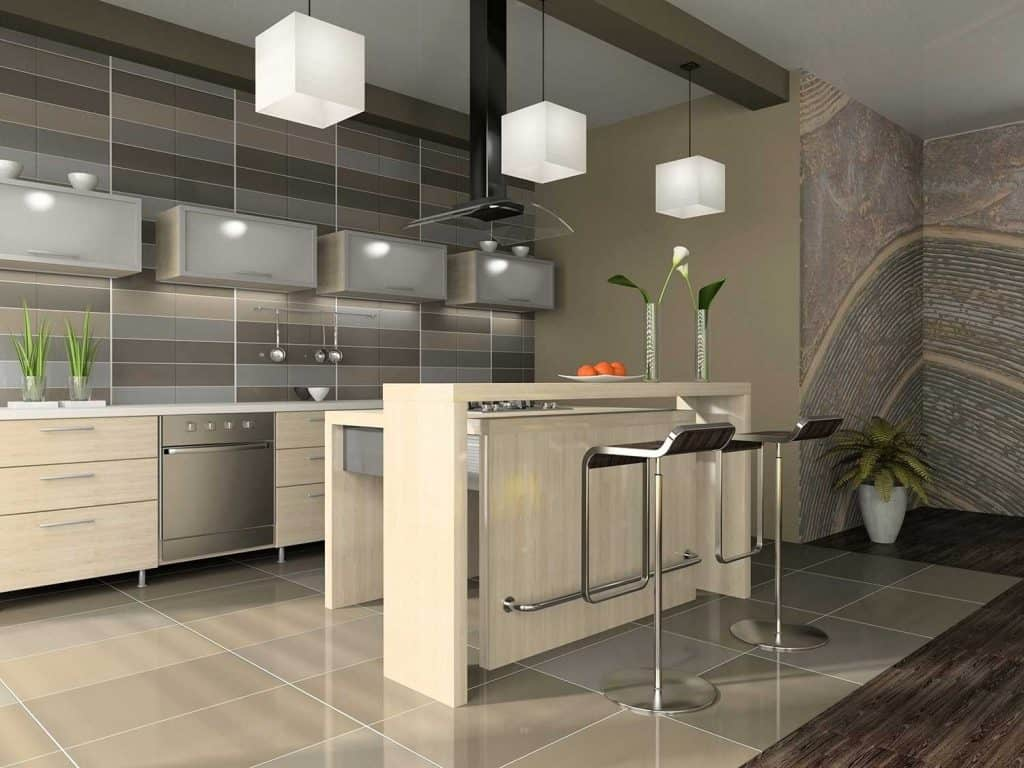 Interior of the modern apartment kitchen with breakfast bar