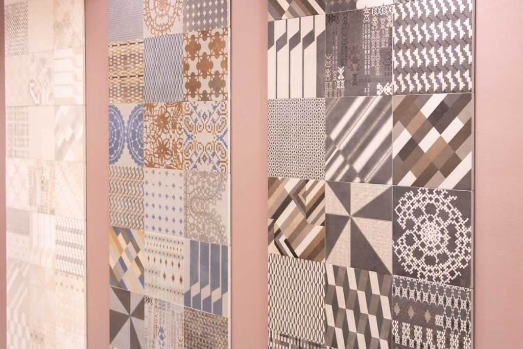 Kitchen wall made of different colors and patterns laying wall tiles