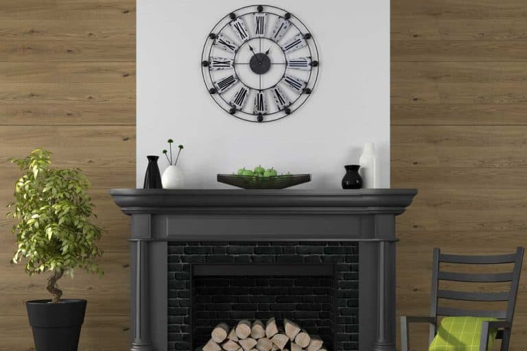 Living room with fireplace and wall clock, How High to Hang a Clock Above the Mantel? [2 Options Explored]
