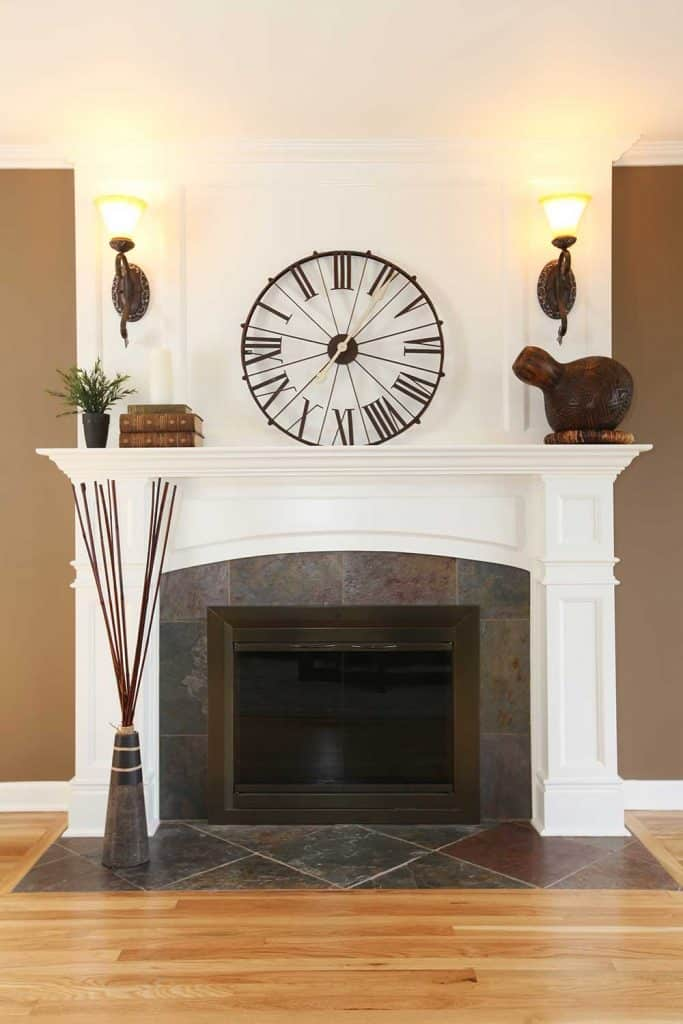 Luxury home white fireplace with clock and wall lamps