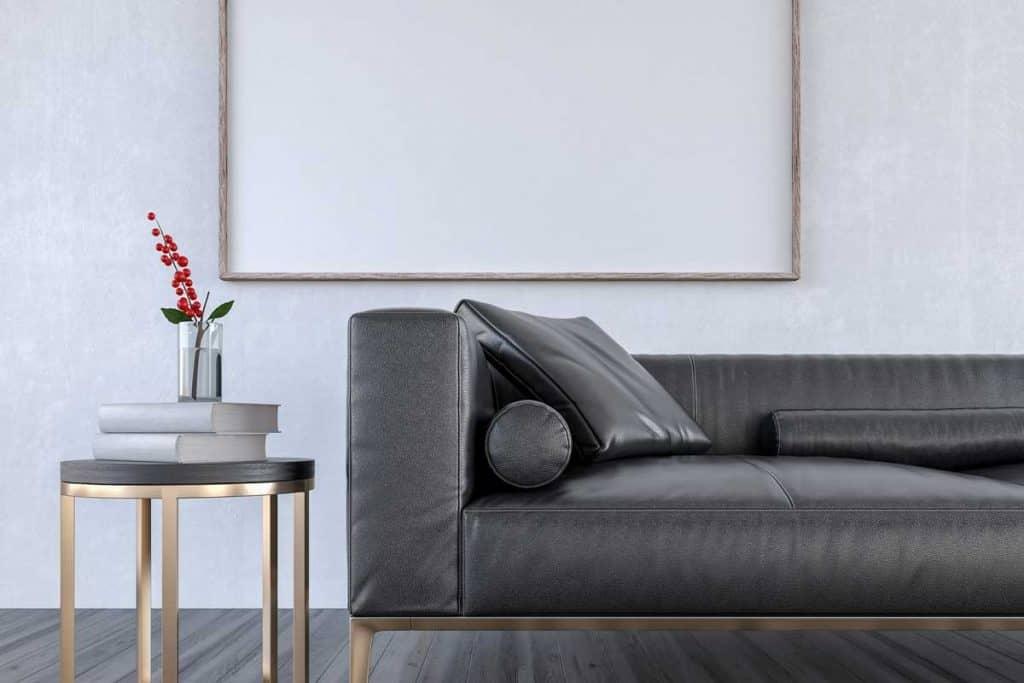 Mock up Black Leather sofa in Modern Living room, interior design