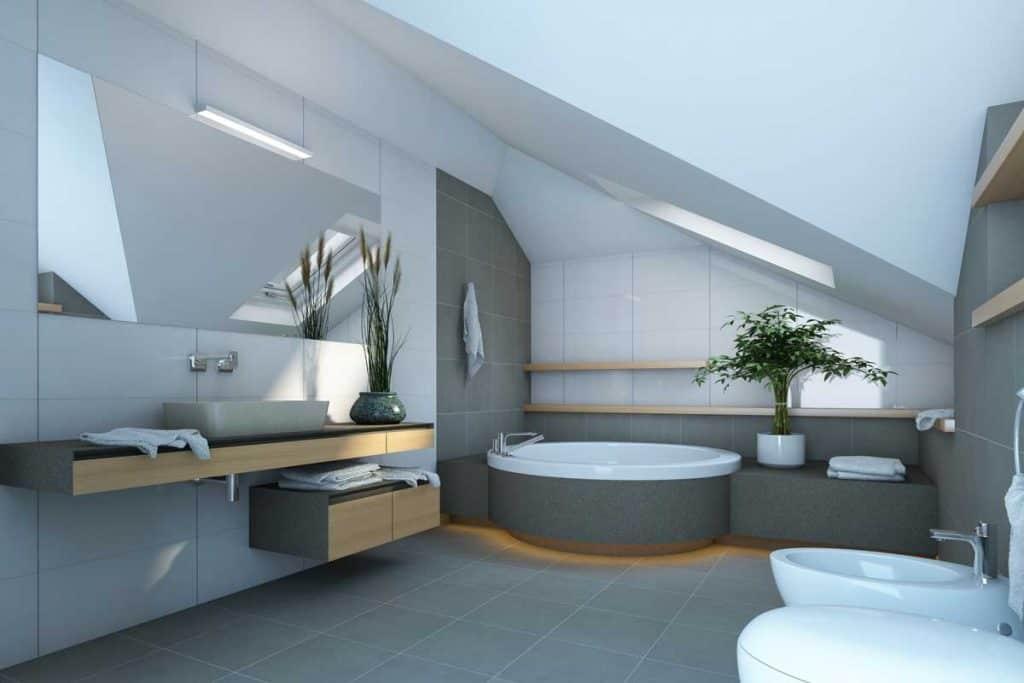 Modern Bathroom with matching gray bathroom floor and wall tiles, Should Bathroom Floor And Wall Tiles Match?