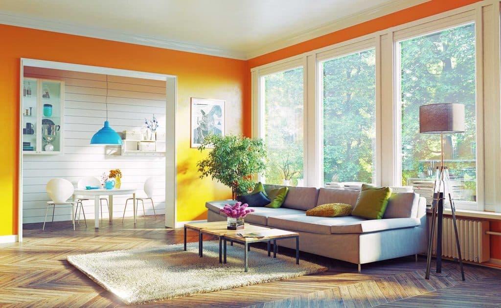 Modern living room interior design with mustard yellow walls
