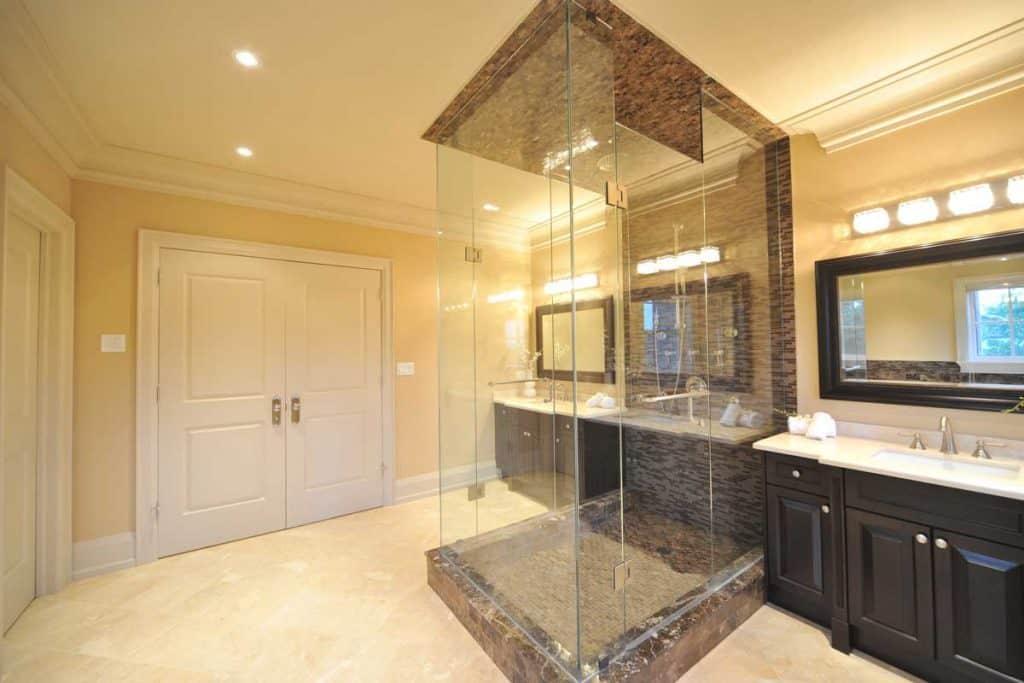 Modern shower bathroom with frameless shower door