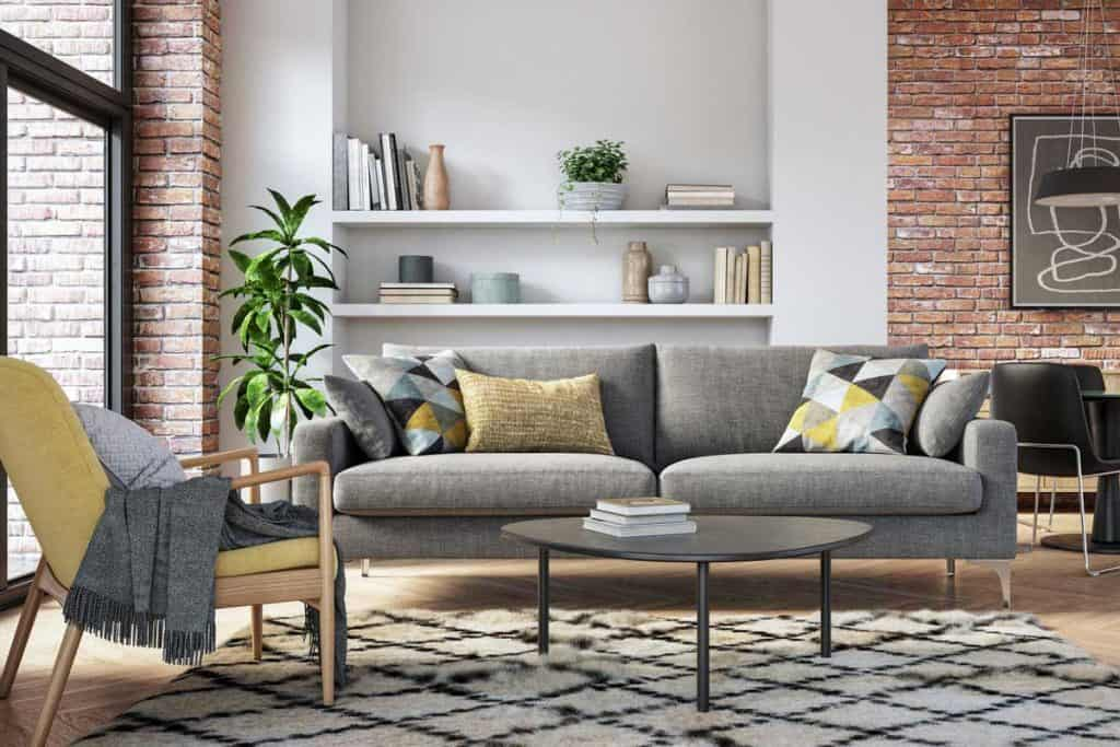 Scandinavian interior design living room 3d render with gray and yellow colored furniture and wooden elements, What Accent Chairs Go With A Gray Sofa?