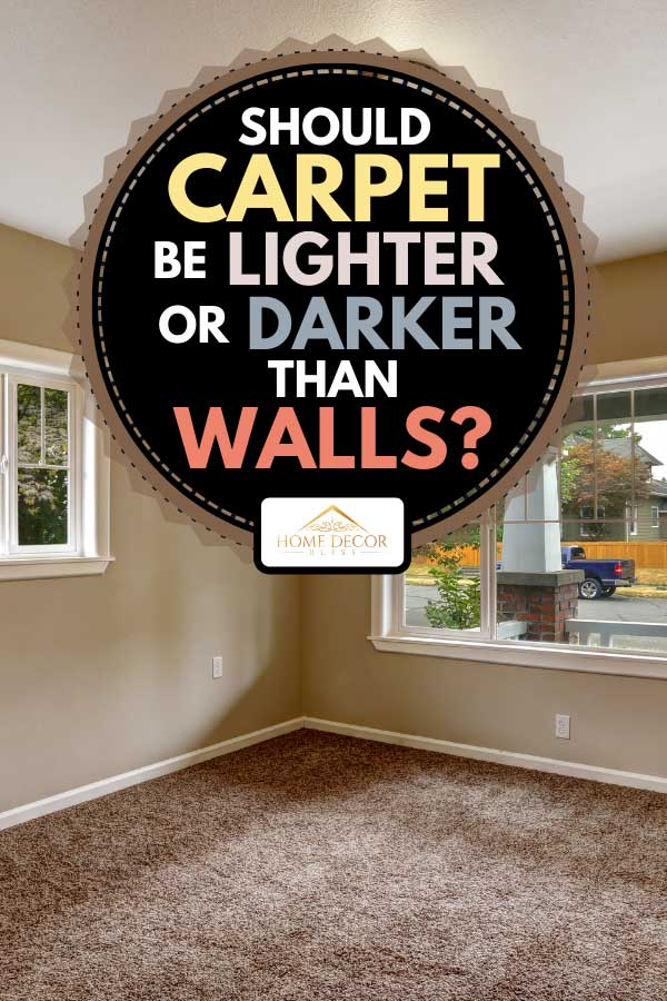 A beige empty room with brown carpet floor, Should Carpet Be Lighter Or Darker Than Walls?