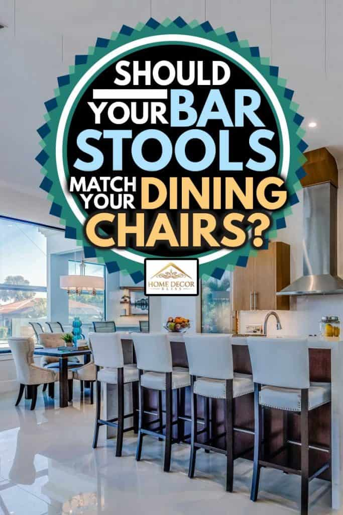 Amenities in new kitchen include pull down faucet and pendant lighting and dining chairs and bar stools, Should Your Bar Stools Match Your Dining Chairs?