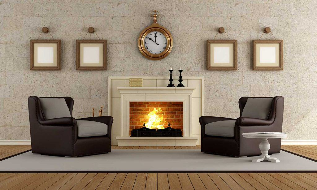 Vintage living room with wall clock, fireplace and leather chairs