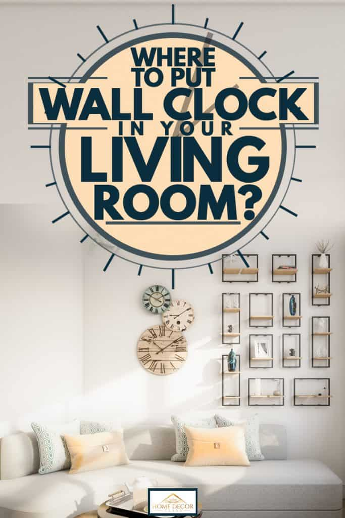 A Scandinavian themed living room with wall clock hanging on the wall and picture frames arranged neatly forming a rectangle, Where To Put The Wall Clock In Your Living Room?