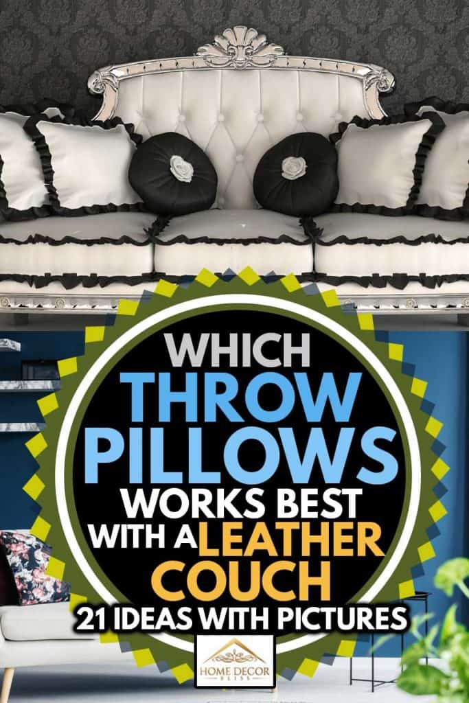 A collage of two leather couch matched with throw pillows, Which Throw Pillows Work Best With A Leather Couch? [21 Ideas With Pictures]