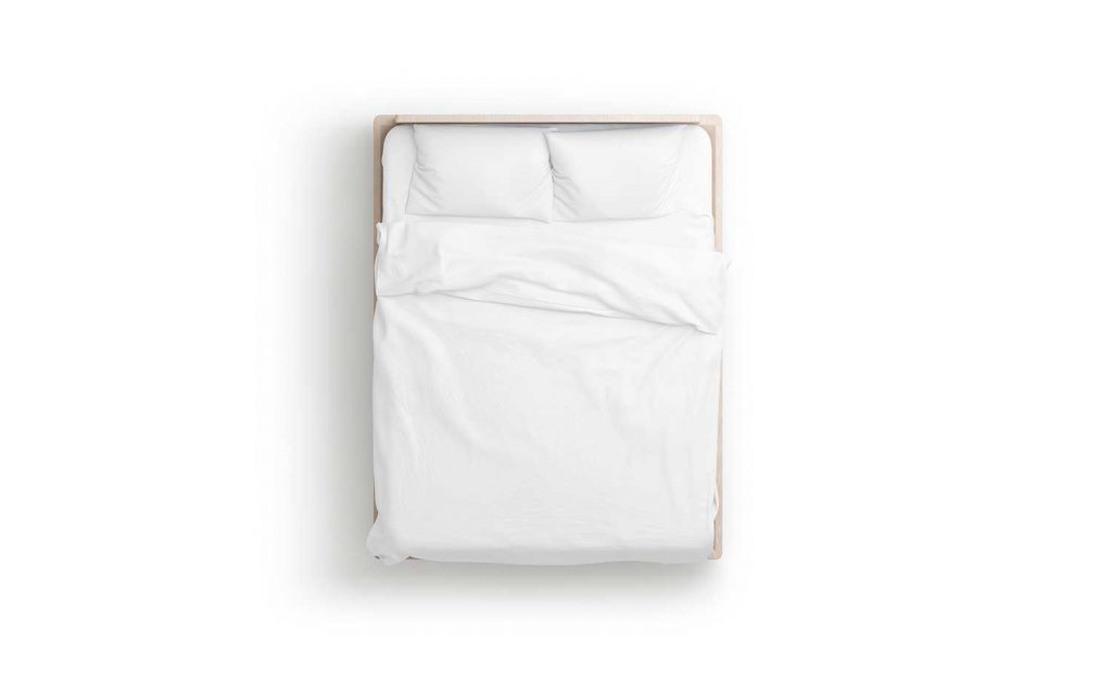 White bed with mattress and bedsheet