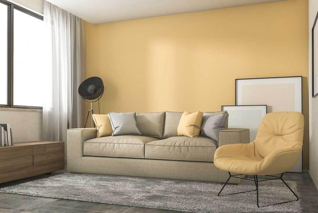Yellow loft living room with minimal decoration