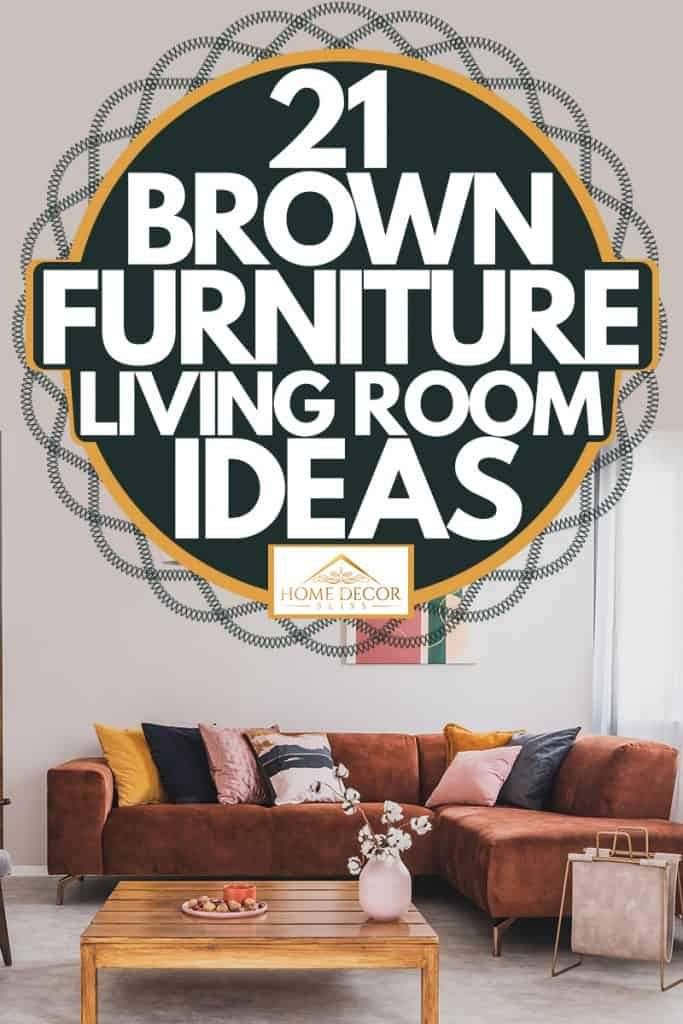A brown sectional sofa with round throw pillows and a white colored wall, 21 Brown Furniture Living Room Ideas