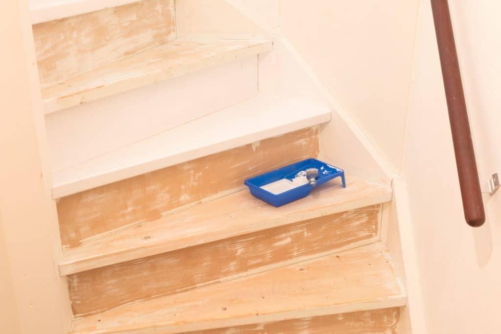 Bitmemiş bir kontrplak üzerine yerleştirilmiş bir boya fırçalı bir boyama tepsisi