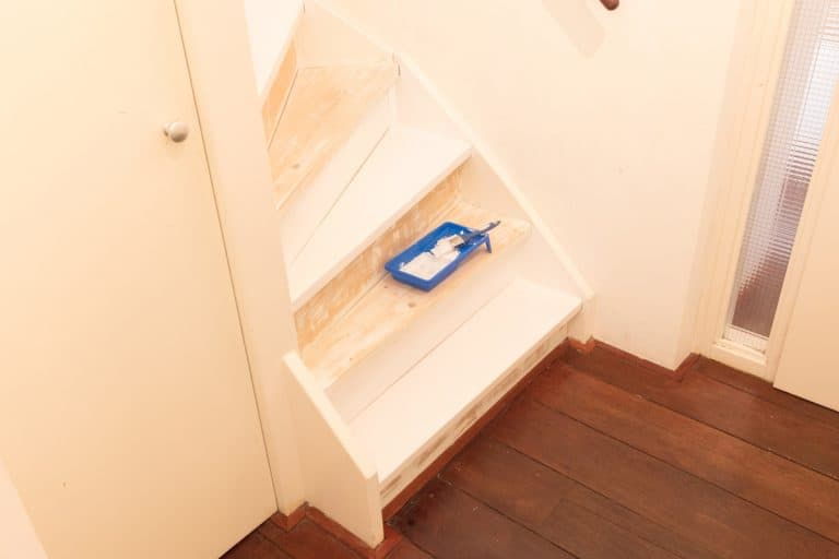A painting tray with cream paint placed on an unfinished staircase, How to Paint or Stain Plywood Stairs? [4 Steps]
