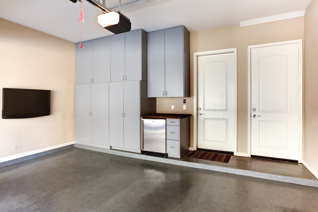 A photo of custom cabinets built in a garage