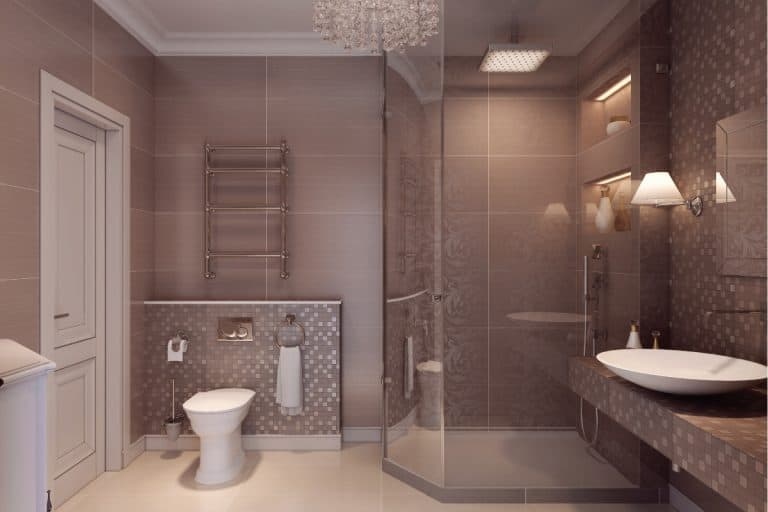Bathroom in the neoclassical style, how much does it cost to replace a shower door