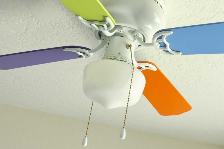Ceiling fan with colorful ceiling fan blades, How To Paint Ceiling Fan Blades? [5 Simple Steps]