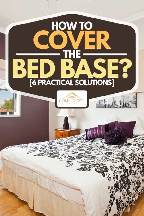 Bedroom with parquet floor, open window and purple pillows, How To Cover The Bed Base? [6 Practical Solutions]